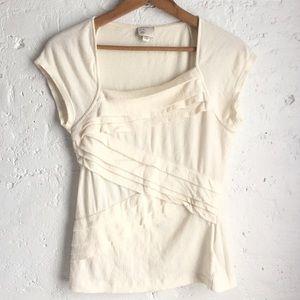 Anthropologie Postmark cream short sleeve top